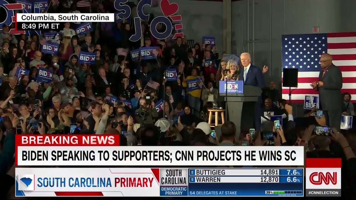 """Joe Biden after his projected win in the South Carolina primary: """"For all those of you who've been knocked down, counted out, left behind — this is your campaign"""" #cnnelection"""
