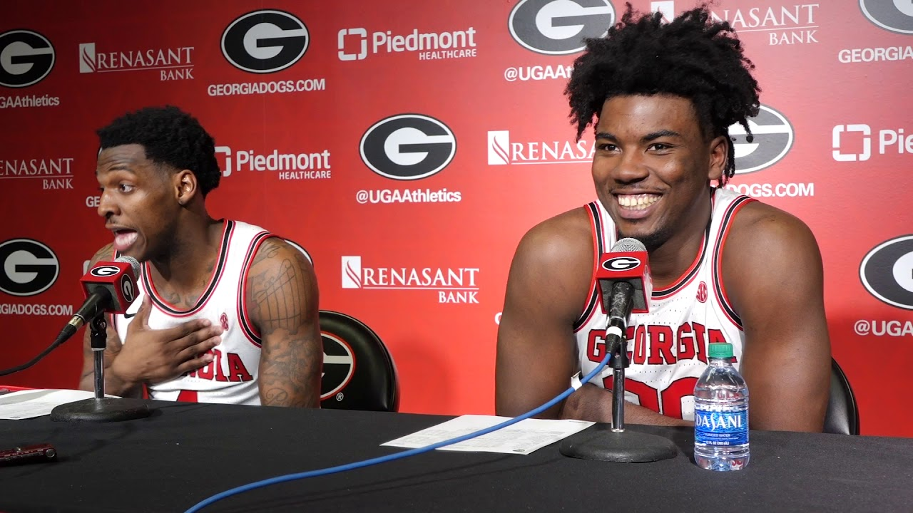 UGA men's basketball Tyree Crump (left) and Rayshaun Hammonds (right) during the Georgia-Arkansas postgame interview on Saturday, February 29, 2020