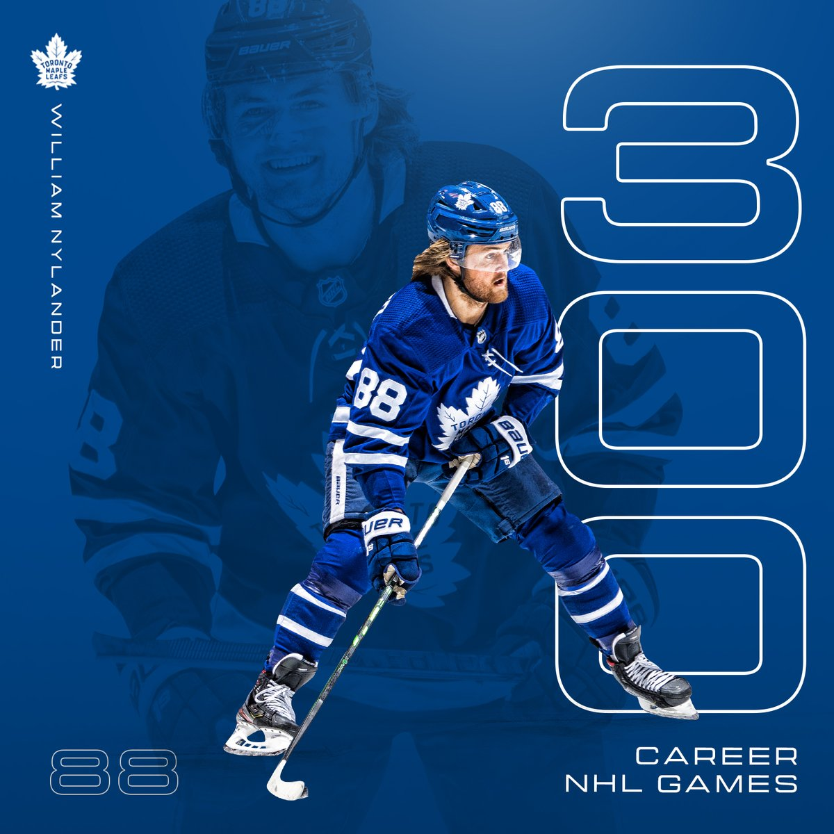 Congrats to @wmnylander on 300 career @NHL games 👏 #LeafsForever