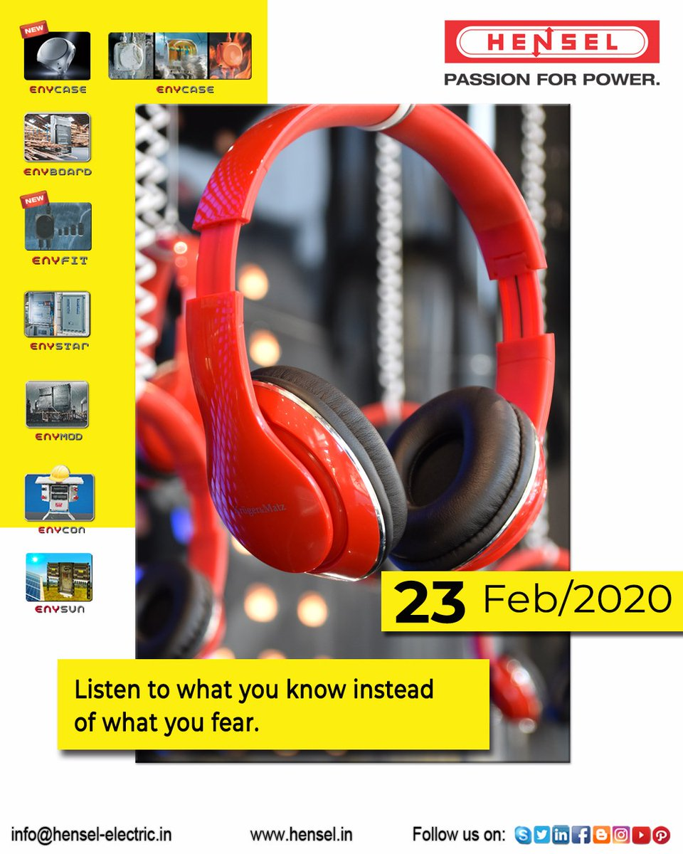 """""""Listen to what you know instead of what you fear.""""  #listen #wordsofwisdom #quotesdaily #inspirationalwords #Hensel #India #PassionforPower  Visit us on: http://www.hensel-electric.inpic.twitter.com/wVKL3JRcS4"""