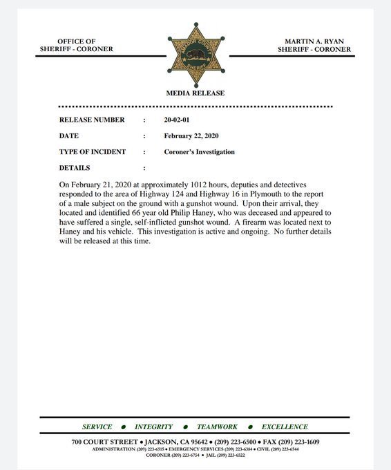 New: Official statement from Amador County Sheriff on the death of Philip Haney rules his shooting death a suicide