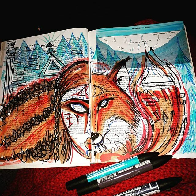 A quick art journal page for tonight. Just keeping the creative energy going. Totem animal for the year is a fox. Wasn't expecting her but I'm liking her.#artjournaling #mixedmedia #foxtotem https://ift.tt/32kbjcapic.twitter.com/2fVCY0ZObl