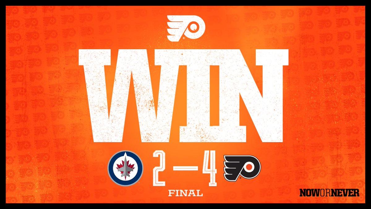 Replying to @NHLFlyers: 🔶 #FLYERS WIN 🔶   Took flight.  #WPGvsPHI | #NowOrNever