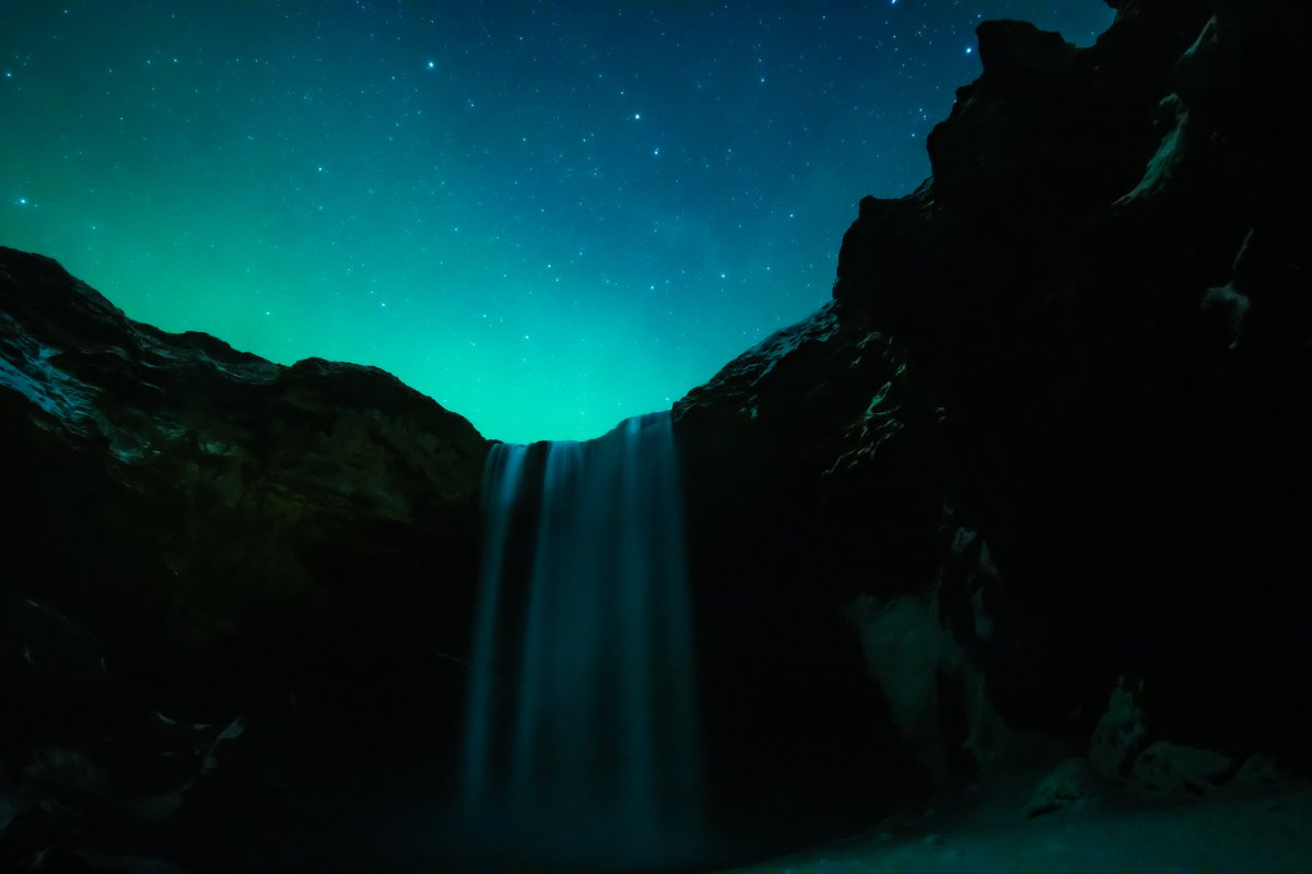 No major Northern Lights activity last night. Just a small hint of it. Was able to get an ok shot of the waterfall though. You can see Ursa Major aka The Big Dipper in one of the photos.