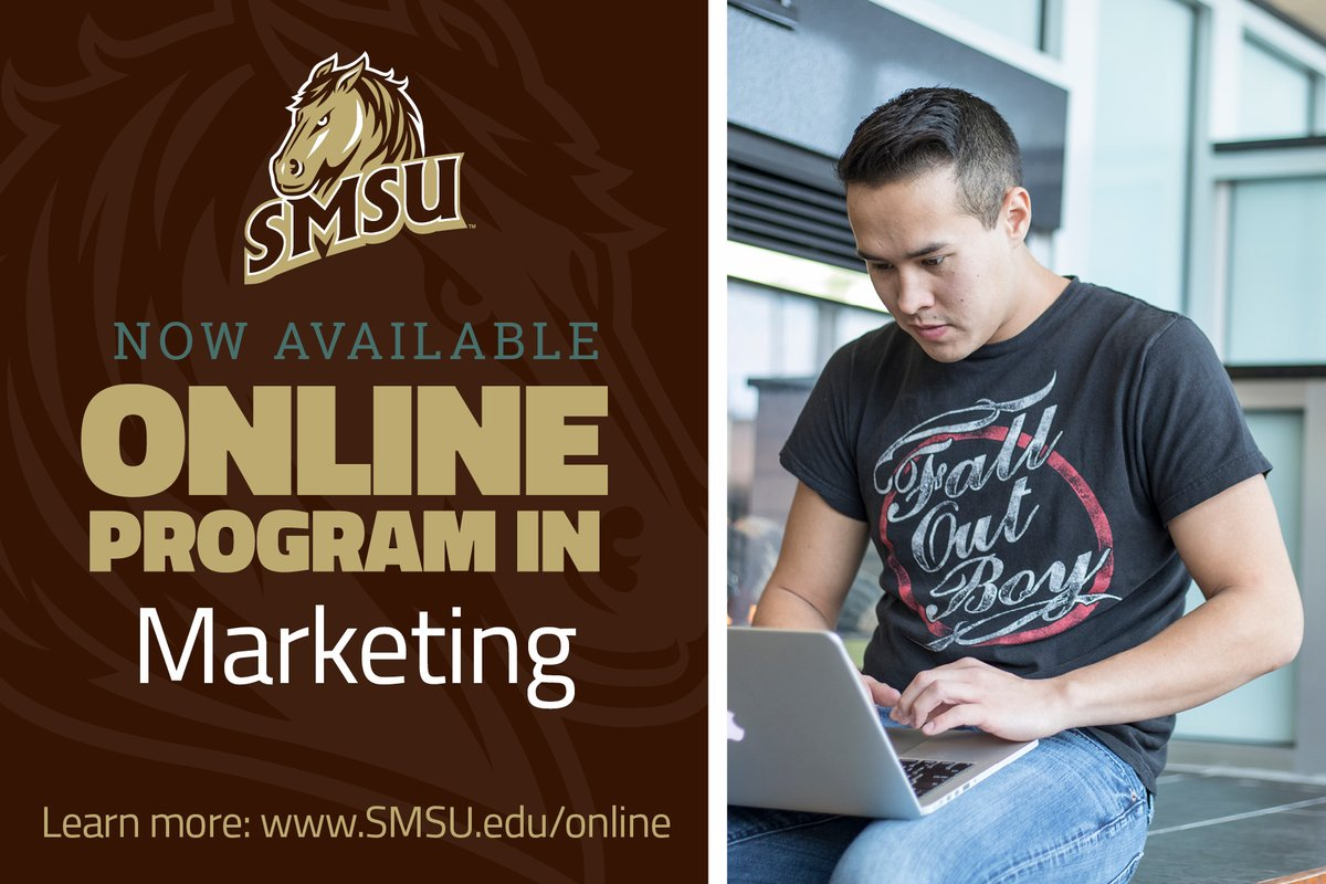 SMSU is offering 10 degrees TOTALLY ONLINE including MARKETING. This online degree program starts in Fall 2020 and prepares students for marketing analysis, strategy development and communication. Learn more: http://bit.ly/smsuonline #SMSUOnline #DiscoverEngageLeadpic.twitter.com/HsZYJoesdg