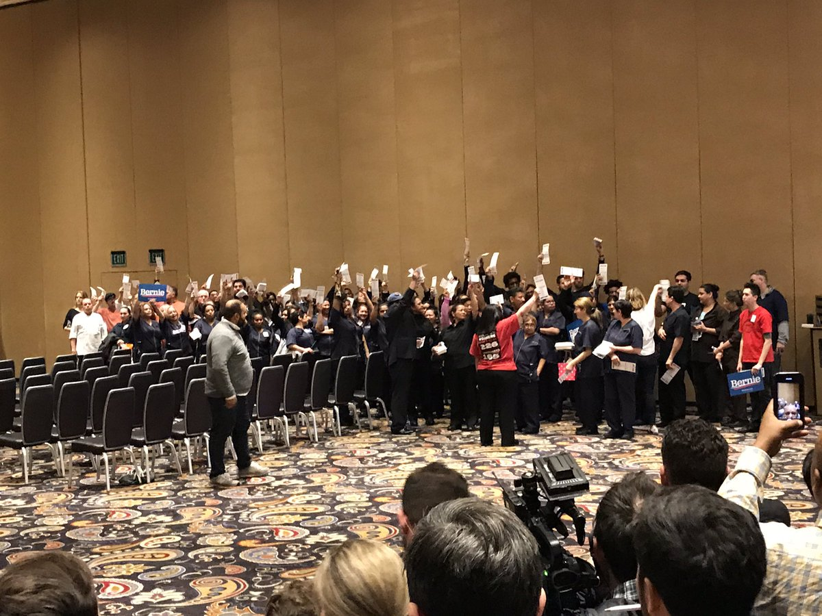 It's a wipeout at the Bellagio at-large precinct — for Bernie.  Out of 123 caucus attendees, many of them Culinary union members, the final alignment:  Sanders: 76 (=32 delegates) Biden: 45 (=19 delegates) Uncommitted: 2 (=0 delegates) <br>http://pic.twitter.com/CPvwga3AYi