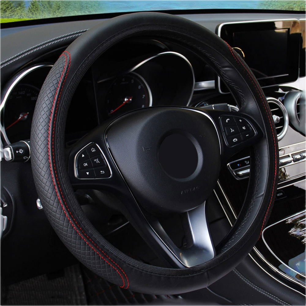 #model #cool Car Steering Wheel Leather Covers