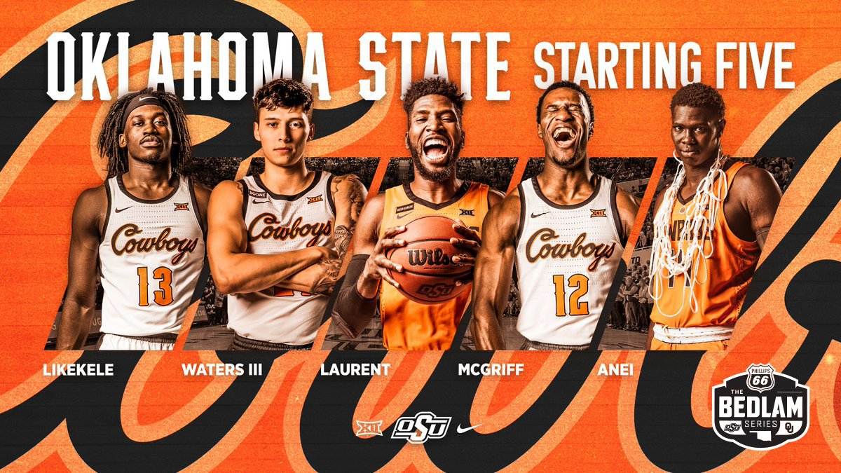 Our starting  for today's Bedlam match-up.   @_Issaaac  @LindyWatersIII  @Phenomballa_4  @cameron_mcgriff  @yor_anei  @Phillips66Gas | #GoPokes <br>http://pic.twitter.com/hve6YNwdEi