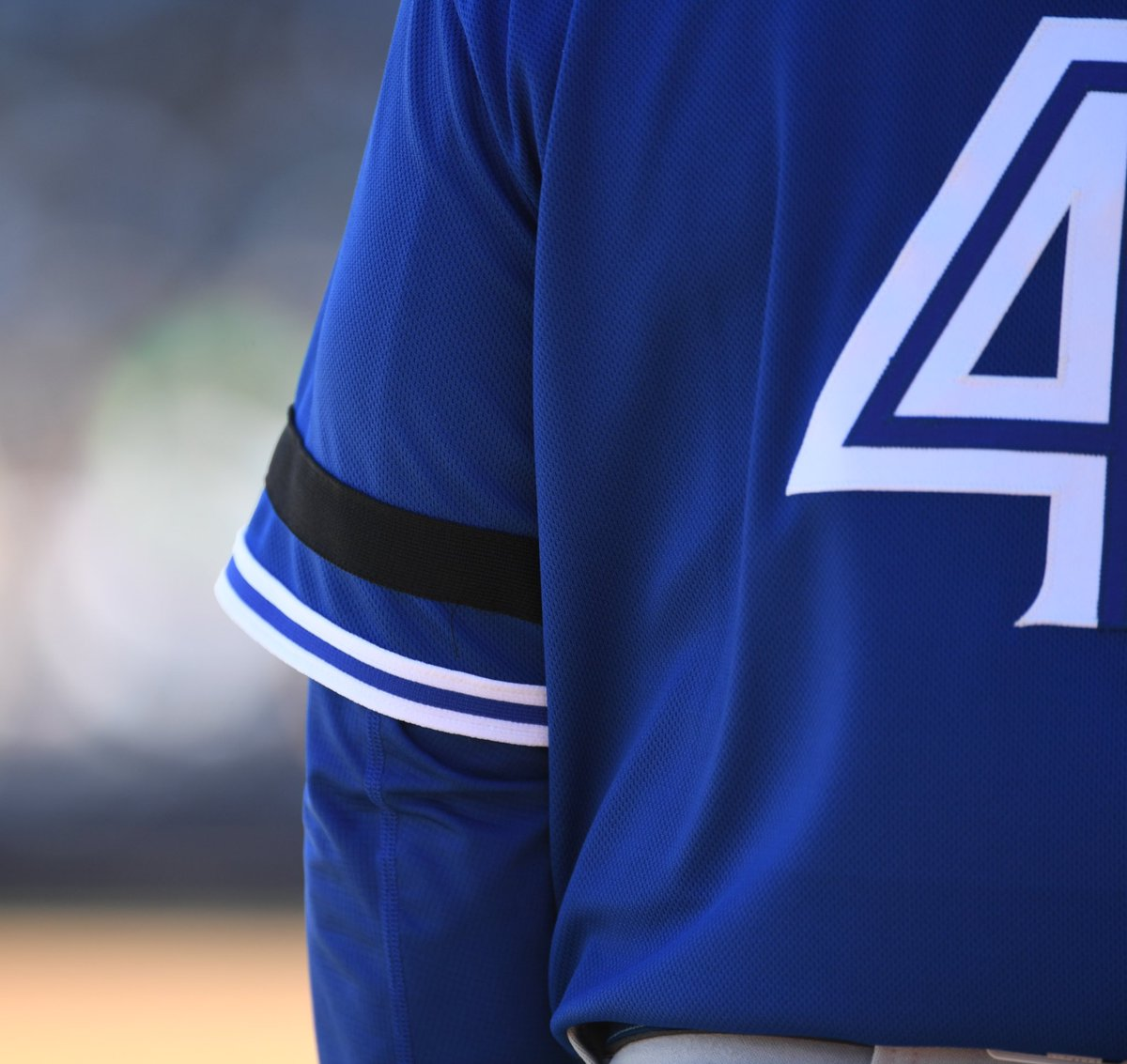 For you, Tony 💙 The black arm band on our jersey sleeve is in honour of #BlueJays legend, Tony Fernandez.