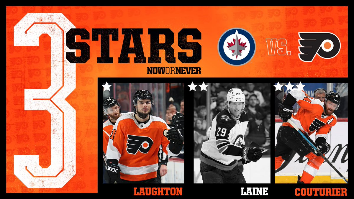 Two points to go with our two stars.   ⭐️: @Laughts21 (2g) ⭐️⭐️: Laine (L)  ⭐️⭐️⭐️: Coots (1g)  #WPGvsPHI | #NowOrNever