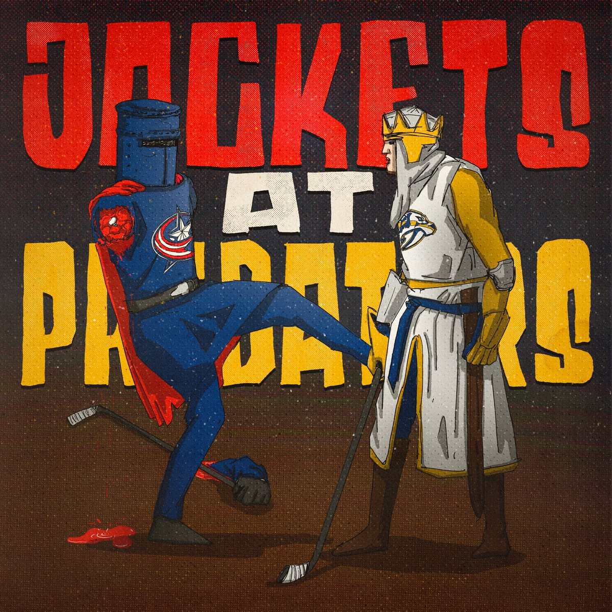 """""""'Tis but a scratch.""""  #CBJ in #Smashville tonight vs the #Preds  Let's hope all they leave with is a flesh wound...  #CBJvsNSH"""