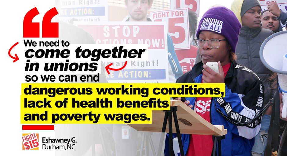 UNIONS are how we can end poverty wages. A lack of basic benefits and exploitation affect MILLIONS of us. #FightFor15 #UnionsForAllpic.twitter.com/HvSnt3UhSS