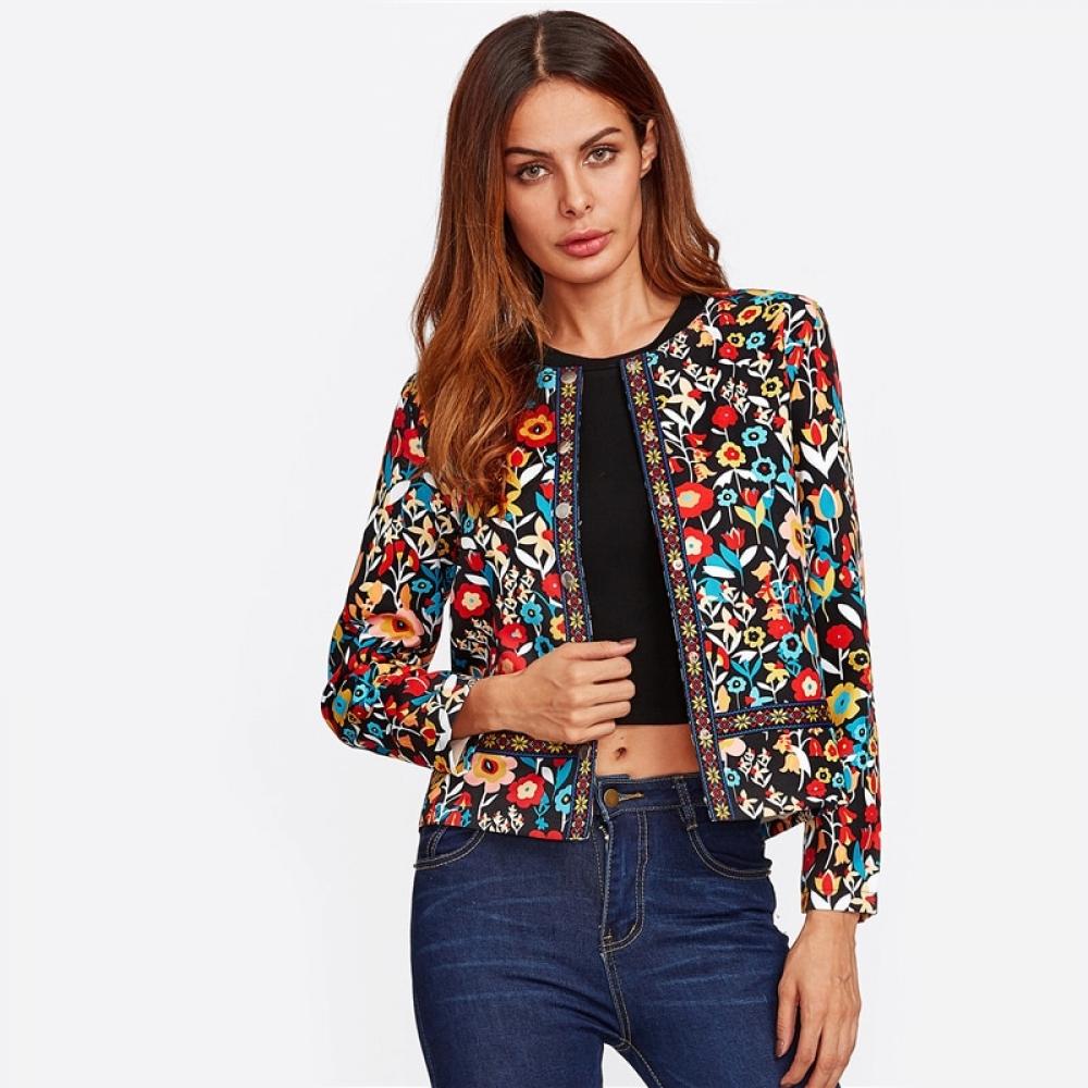 Women's Boho Style Floral Print Casual Jacket  #amazing #happy