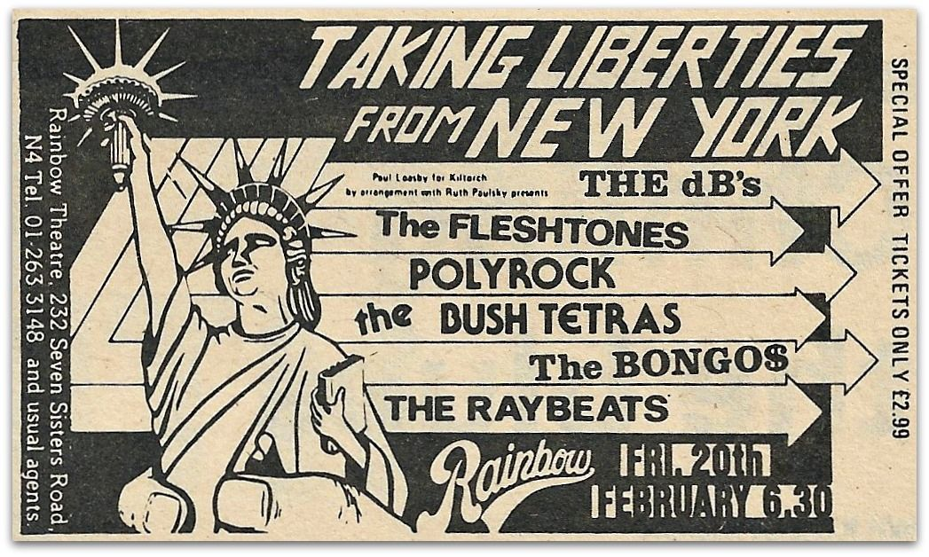 39 years (and one day) ago: The Bongos, Bush Tetras, The dB's, The Fleshtones, The Raybeats, and Polyock at The Rainbow, London:  https://www.mylifeinthemoshofghosts.com/2017/11/18/the-bongos-bush-tetras-the-rainbow-london-20th-february-1981-love-of-life-orchestra-dingwalls-london-21st-february-1981/ …pic.twitter.com/iNoHbRBNqR