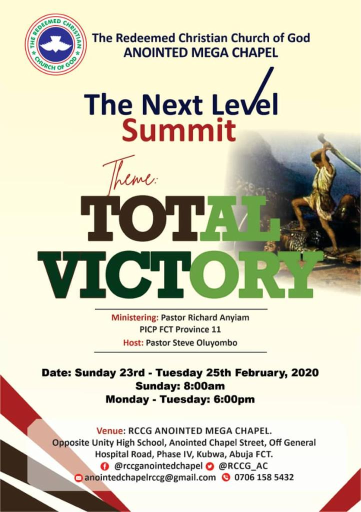 Come with your family and friends! The Next Level Summit begins tomorrow, Sunday February 23 2020. We will surely sing a song of Victory.  #TotalVictory<br>http://pic.twitter.com/ap4khhLkkC