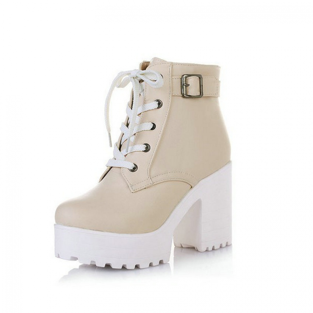 #girl #look Fashion Demi-Season Casual High-Heeled Leather Women's Boots