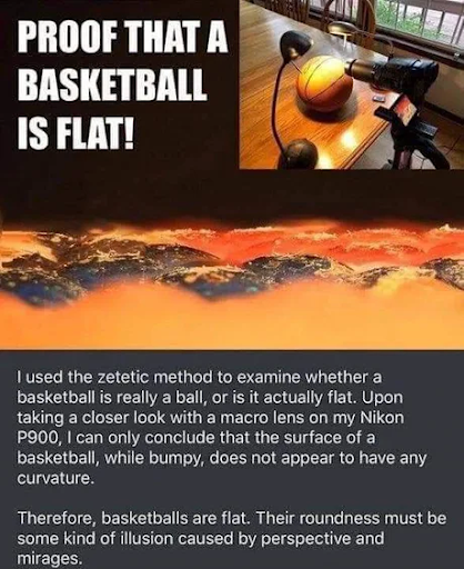 Bumping into #FlatEarth posts, I feel tempted to post this too: Proof that even basketballs are flat!!! (unknown author) pic.twitter.com/2y2EAv1a1S