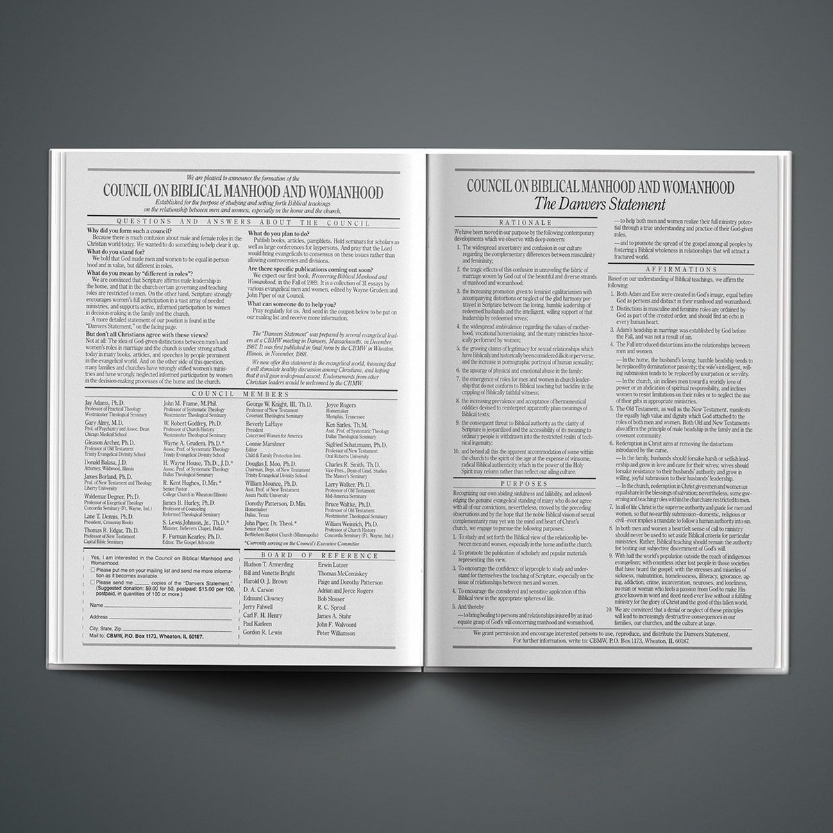 Ad placed in Christianity Today JAN 13, 1989 Statement on Biblical Manhood and Womanhood called The Danvers Statement. This manifesto in part was a backlash against the rise of evangelical feminism. #Jesusfeminist  #BiblicalWomanhood #Christianfeminism  #Danversstatementpic.twitter.com/6o0gxOB8z5