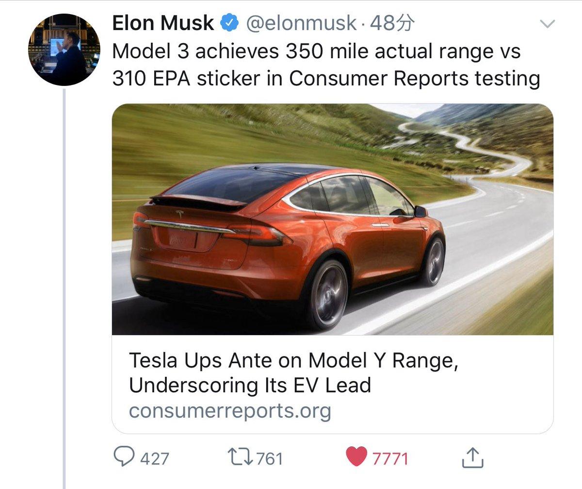 【PSA】イーロン・マスク「モデル3は、消費者レポートテストで実際のレンジ350マイル(563キロ)と310 EPAを達成します。」 #Teslamodel3 pic.twitter.com/YrLvbhOEvE