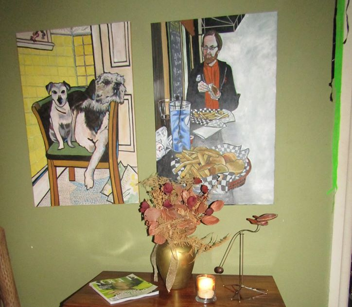 Two oil paintings by Bill: Jack and Frank, and me eating a gyro in Pittsburgh. #DaupArt<br>http://pic.twitter.com/9ypQzOCSAT