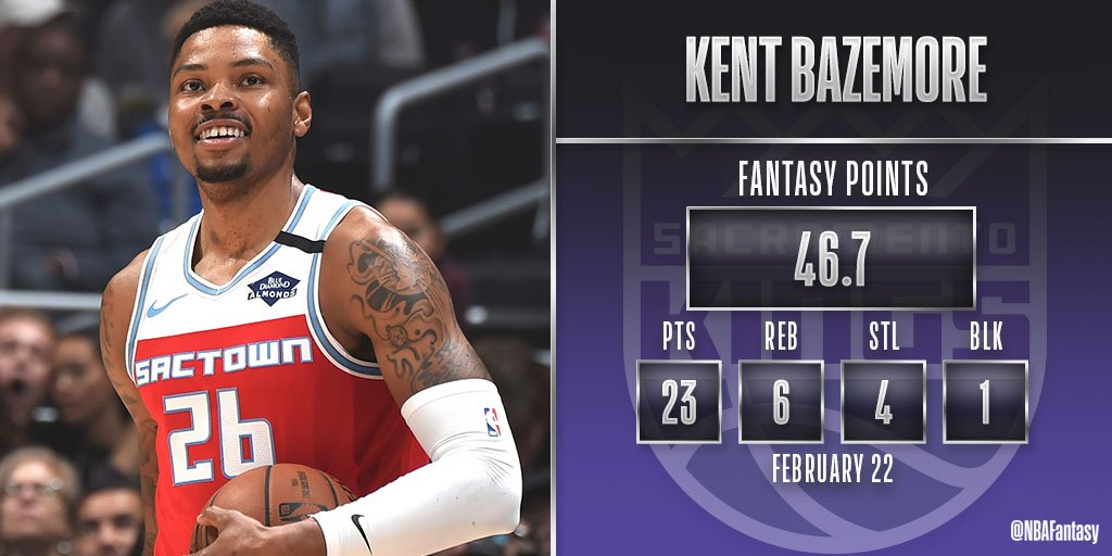 Kent Bazemore puts up a season-high in PTS and FPTS in the @SacramentoKings win!