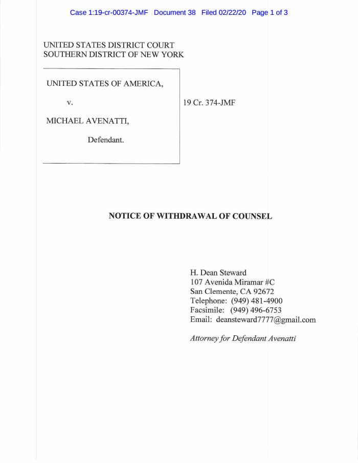 New filing in United States v. Avenatti: Notice (Other)  https://www.usatoday.com/documents/6783847-Notice-Other…