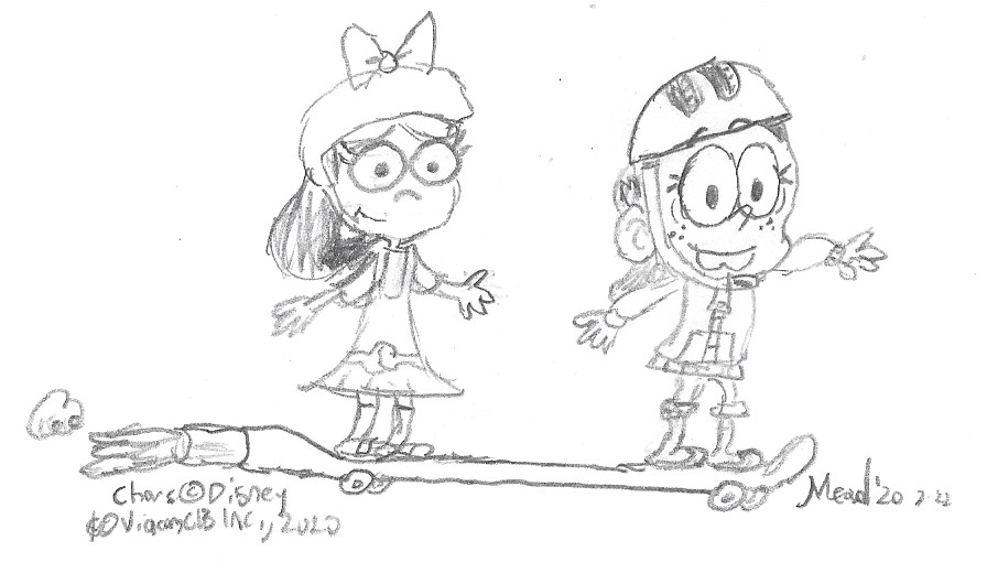 Happy birthday, @k_narrow! One of his dream fantasy cartoon crossover team-ups is Isabella Garcia-Shapiro and Ronnie Anne Santiago, so here they are testing out Phineas and Ferb's new two-person rocket-powered skateboard! #rwmeaddrawspic.twitter.com/z0wBY5lUc6