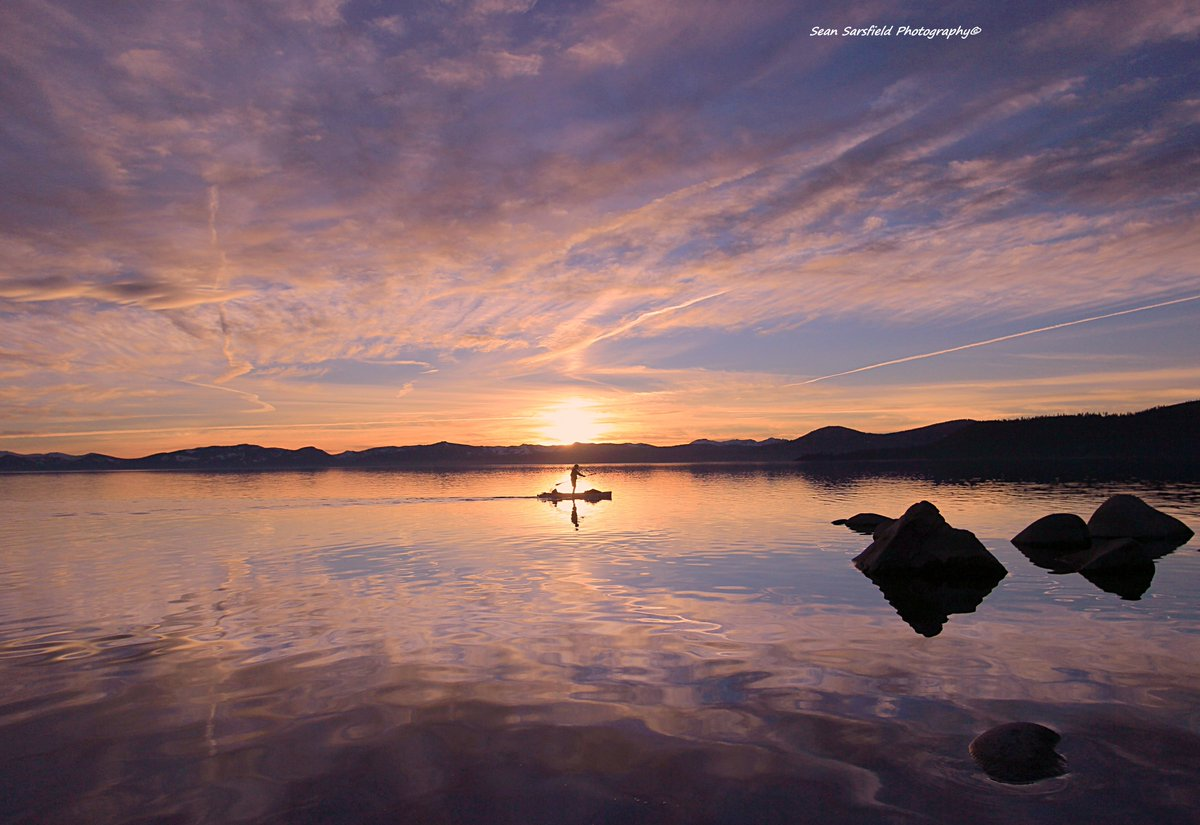 Solitary SUPper Paddling in twilight paradise  #LakeTahoe #Waterscapes #Sunset #VisualArt   #LandscapePhotography #Sierra #Portraits #Travel #TourGuide #Gallery #Painting #WaterProtector