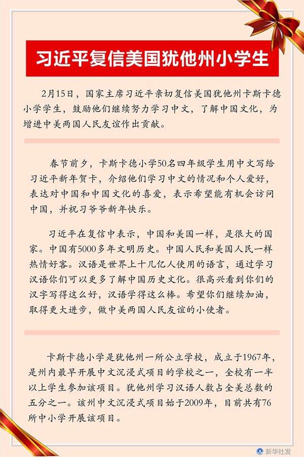 Presidenti kinez Xi Jinping i ka shkruar një letër një grupi nxënësish të një shkolle fillore amerikane, duke i inkurajuar ata të vazhdojnë përpjekjet për të mësuar gjuhën dhe kulturën kineze.http://albanian.cri.cn/1552/2020/02/23/65s185499.htm…pic.twitter.com/em7klOixgy