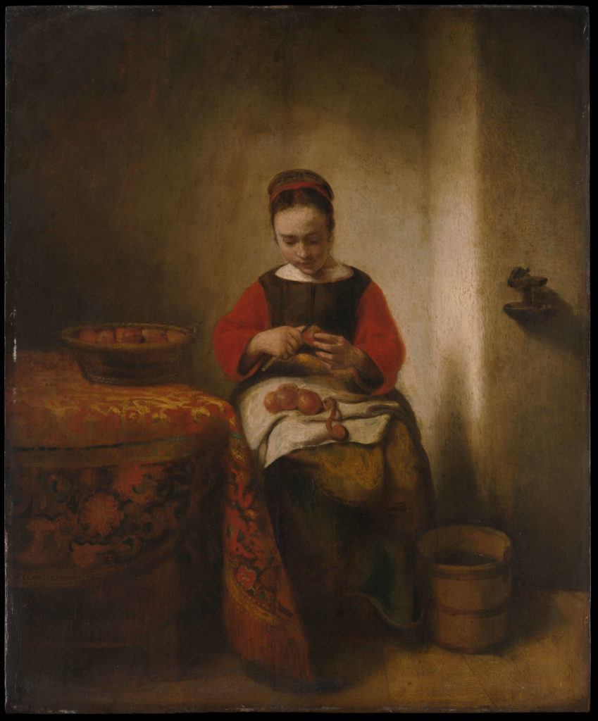Nicolaes Maes:  Young Woman Peeling Apples,  c. 1655 <br>http://pic.twitter.com/Atv9BrdTIt
