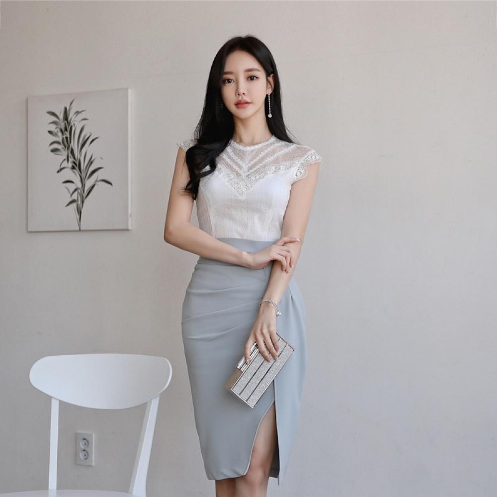 New arrival temperament OL two-piece set fresh sweet lace basic shirt comfortable slim pencil skirt fashion wild women set  #fashion|#makeup|#tech|#gadgets