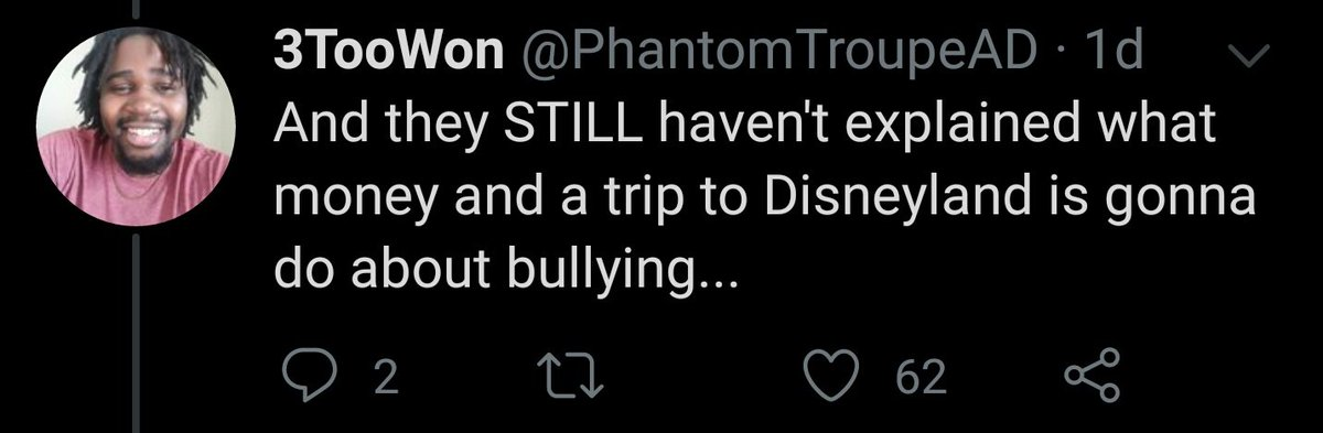 "There you go twisting words again. Don't use words like ""specifically"" if you aren't going to prioritize accuracy. The actor info could be false but nothing else I stated can be refuted. Money and Disneyland aren't helping dealing with bullying, mediation is. pic.twitter.com/6Vp9v8zWTI"