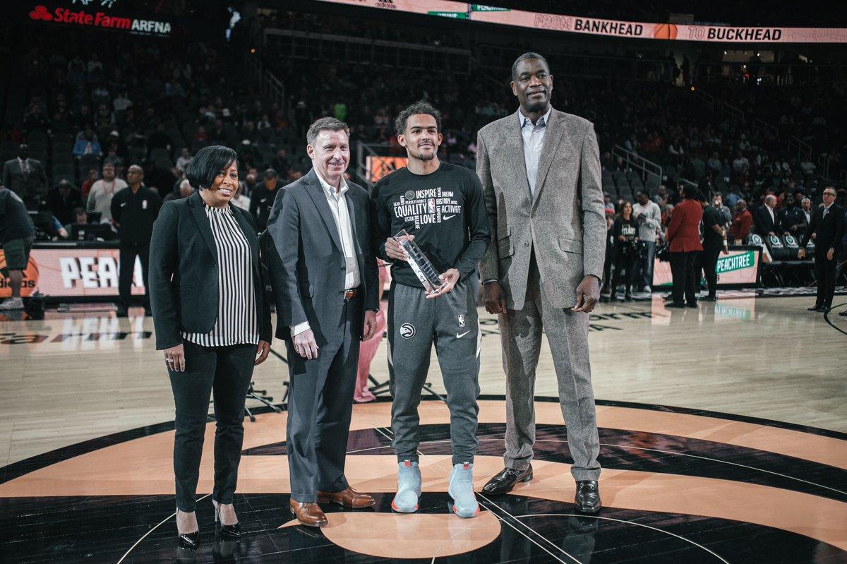 .@TheTraeYoung receiving his #NBACares Community Assist Award prior to tonight's game!  #TrueToAtlanta
