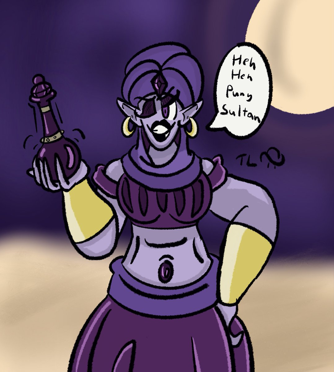 Colored the pic and added some details. I also realized I really like the color purple. #digitalart #digitalpainting #digitaldrawing #genie #ArabianNights #genieinabottle #djinn #artistsontwitterpic.twitter.com/A4EneftMPV
