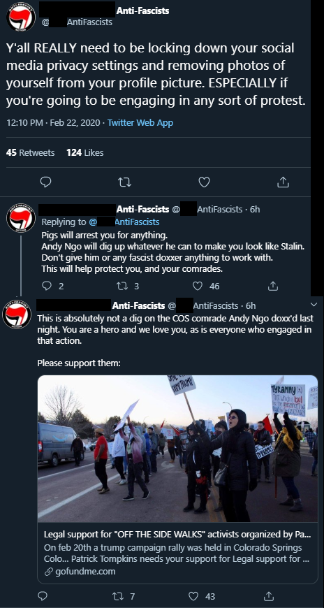 Looks like area Antifa group confirms that this guy is indeed Antifa (a 'comrade' no less), warns others to lock down social media posts and to be weary of others.  Andy, do you know anything about Patrick Tompkins who is organizing the GFM effort? pic.twitter.com/QxhxGfZpuQ