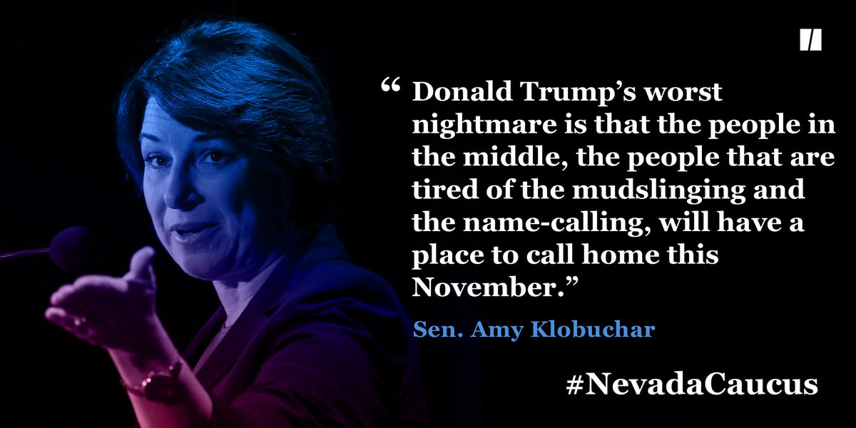 "Klobuchar took to the stage to speak to ""the people in the middle."" #NevadaCaucus huffp.st/VeXyRam"