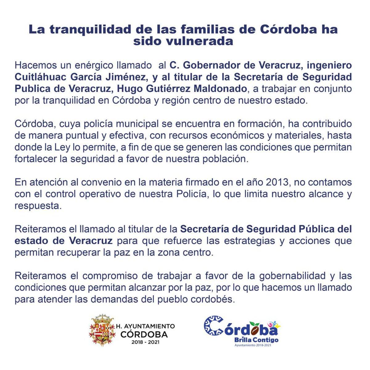 ✅#CórdobaOrizaba @AytoCbaVer se pronuncia tras enfrentamientos en la ciudad➡️#OlivaNoticias #Multimedios