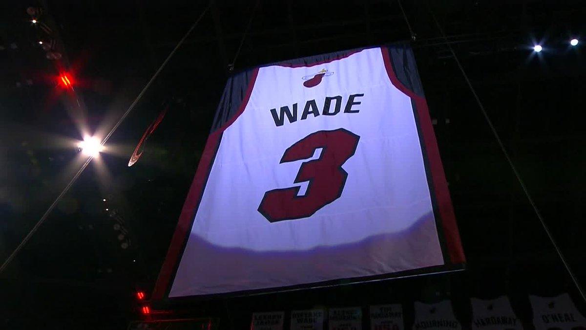 D-Wade's jersey is officially retired ✊ #L3GACY (via @FOXSportsHEAT & @NBATV)