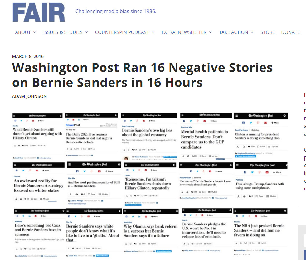 The Washington Post? Publishing articles intended to damage Bernie Sanders the day before an important event? Utterly ridiculous! Oh, wait...pic.twitter.com/ASHt82PtNu