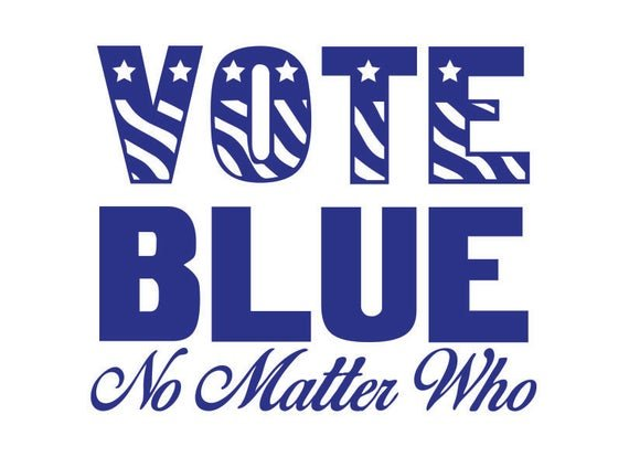 @TheTrueAmerica5 #StrongerTogether #TheResistance #TrumpNotFitForOffice  Please vote blue no matter who. If we do Trump is gone and hopefully he'll get an orange jumpsuit to match his orange face