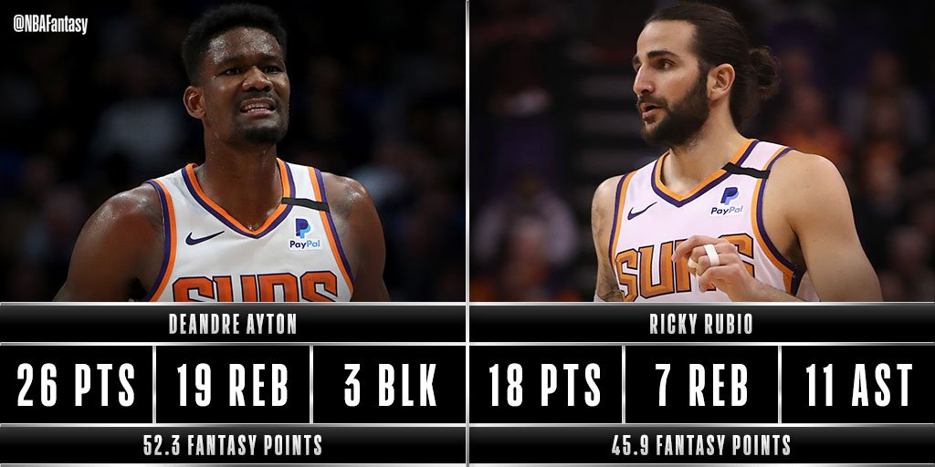 Double-double for both Deandre Ayton and Ricky Rubio as they lead the @Suns to a win! #RisePHX