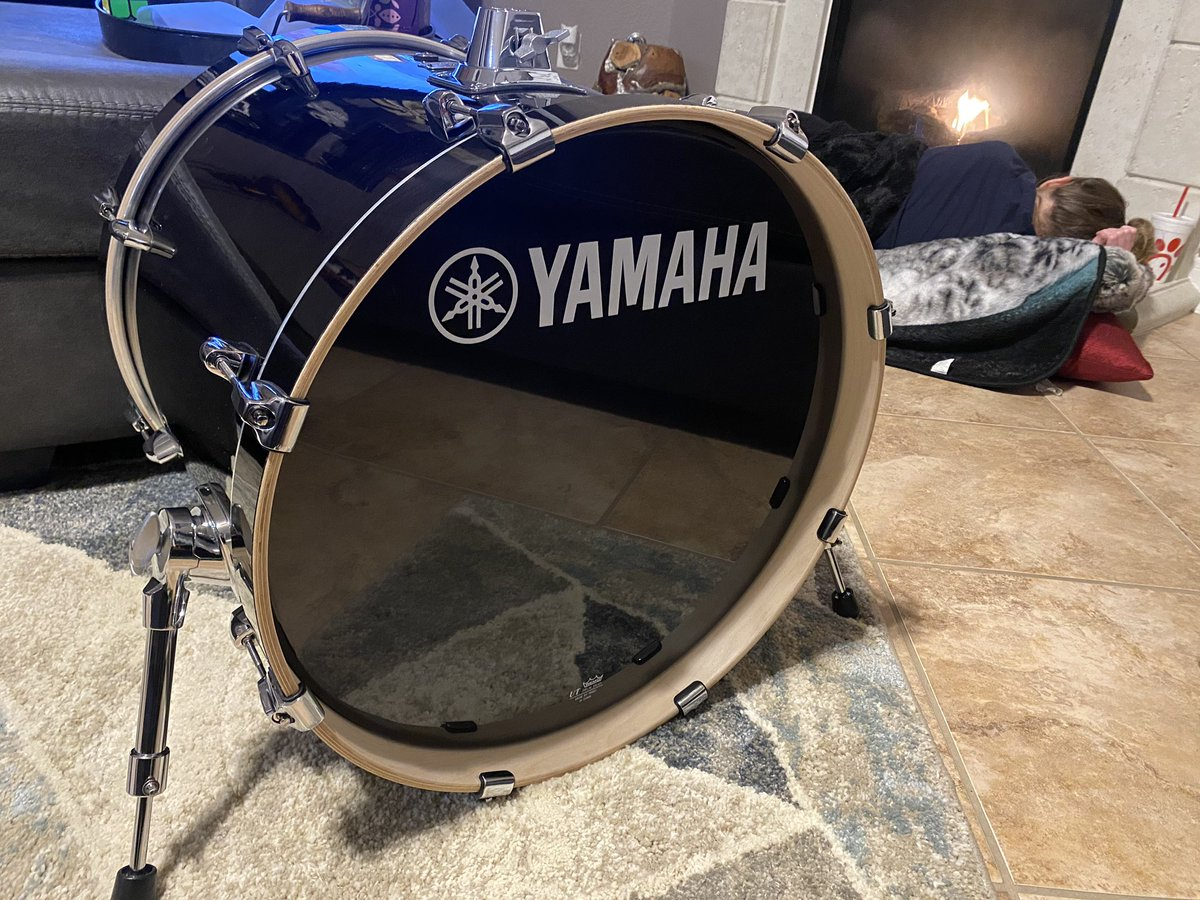 Set up my new bass drum. She's a beaut.
