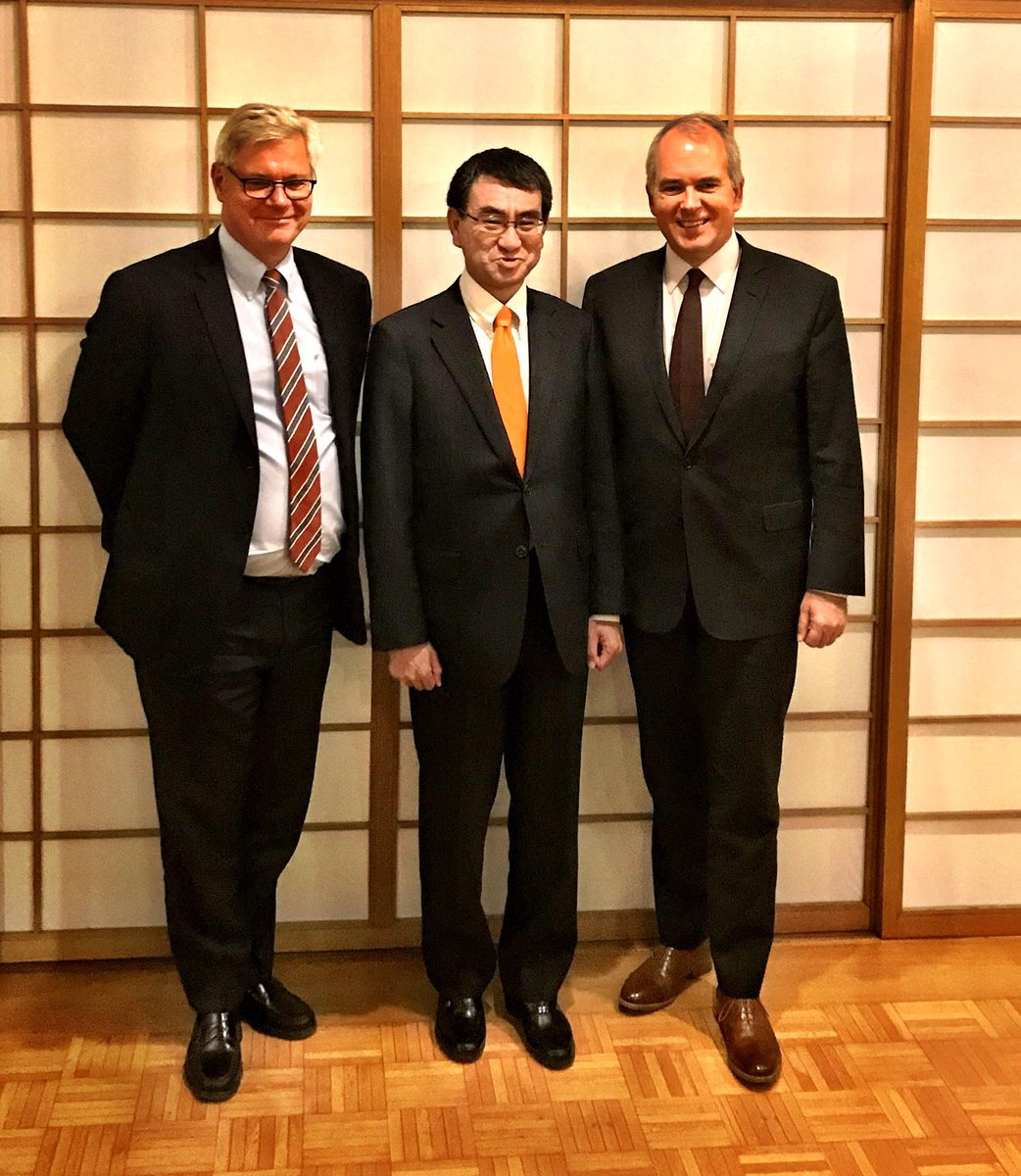 A big thx to Defence Minister @konotarogomame for an enlightening dinner discussion wth me & our new @dkClimateAmb https://t.co/ywqGK2cNjE