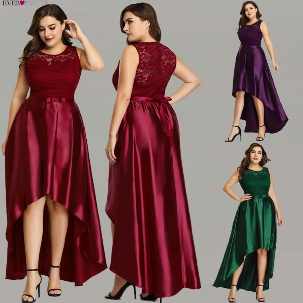 #instagood #beautiful Satin Burgundy Lace A-line Sleeveless Evening Dresses Plus Size