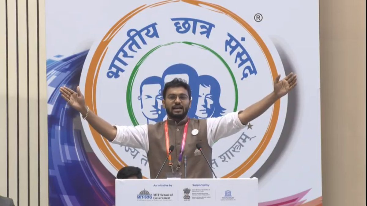 """Student Leader Sarthak Saoji - MPG , MIT SOG, Mit World Peace University, Pune will now address the audience on """"India in the Mirror : A Timeline of 7 Decades"""" #10thBCSlive #indianhistory #mitpune #mitwpu #studentleader #politicalscience pic.twitter.com/BRP5BAwdDy"""