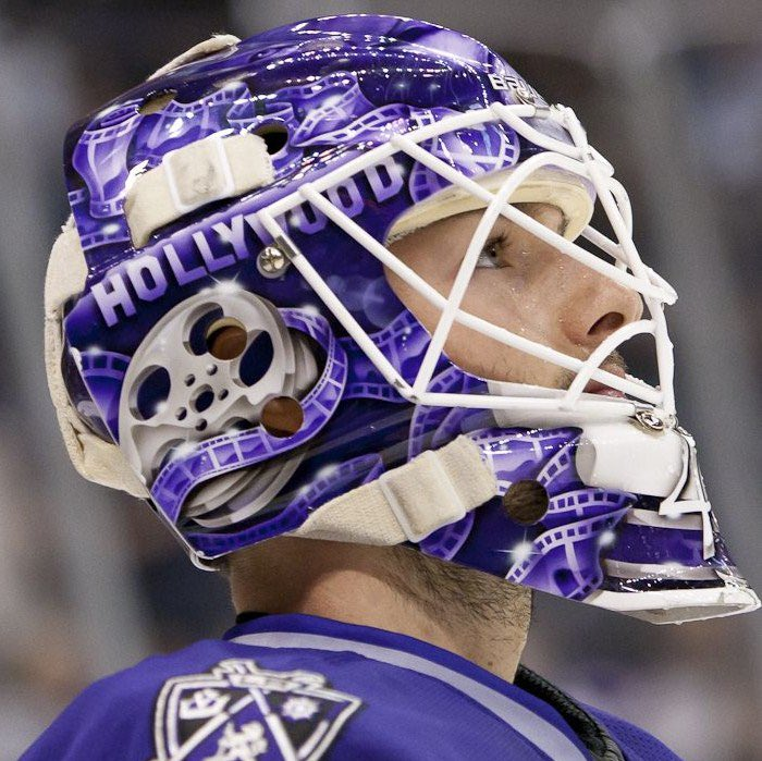 Jonathan Bernier also wore a Hollywood sign / film-themed mask during his time in LA — a more subtle homage to Hrudey, but the ties are still there