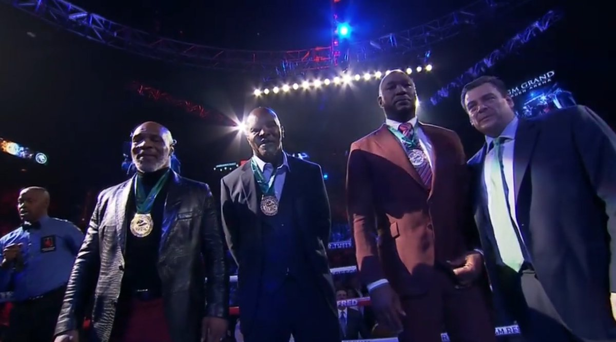 Mike Tyson, Evander Holyfield, and Lennox Lewis are in the building for tonight's action 👊