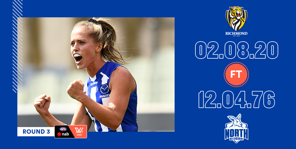 That was impressive!   Our @NorthAFLW girls with a huge win over the Tigers today.  They'll be in action at Arden Street next week - Saturday at 5.10pm, aiming to keep the winning streak going.
