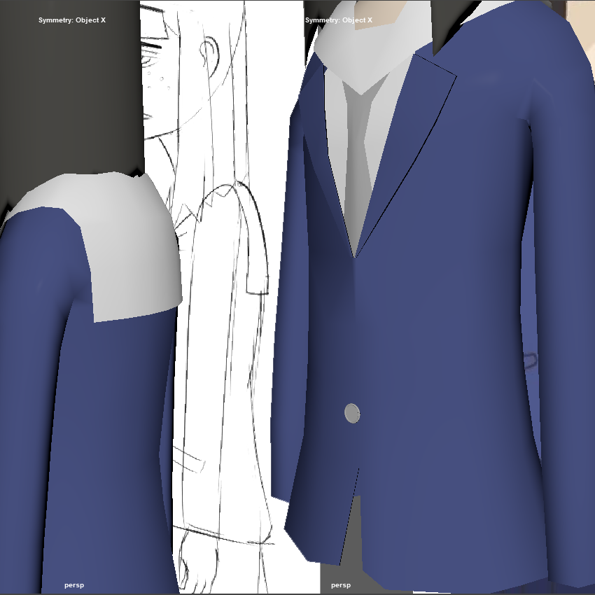 3D modeling a character part 5  finished up the jacket, undershirt, tie and scarf thingy (and obsessively tweaked the face a bit)  i'm now dangerously close to having to do the hands and i'm not happy about it.  #Eizouken #3dmodeling #366artchallenge #day053