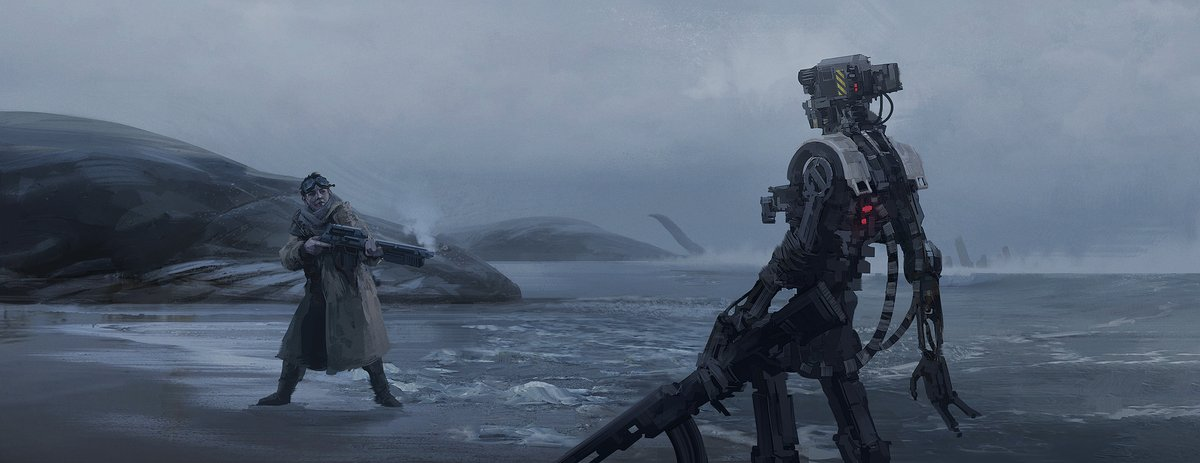 That's close enough By Joakim Ericsson #scifi #Futurism #fantasyart #Robotics #steampunk #duel